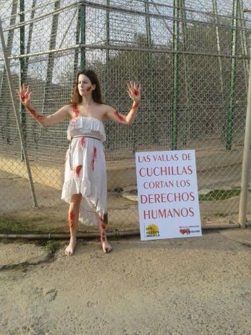 Protesta en la valla