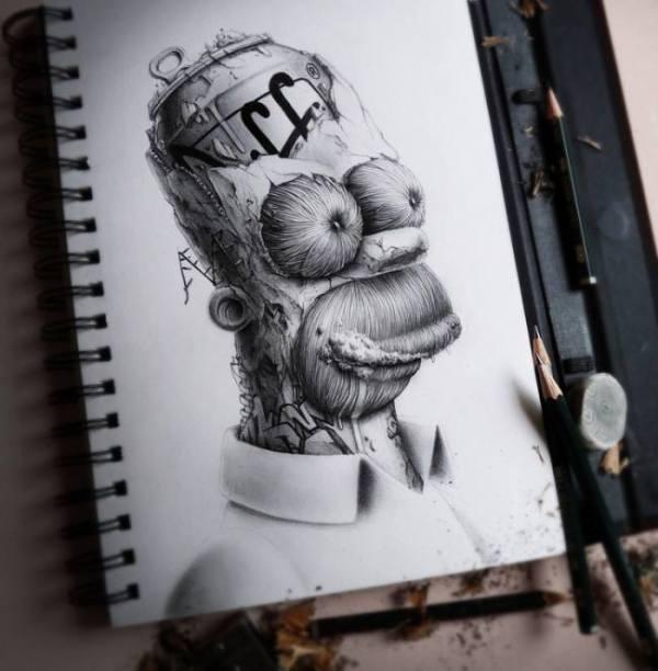 """Hoy en la pintura de los días por Demetrio Reigada: Los adorables personajes de dibujos animados mutados por """"Pez"""""""