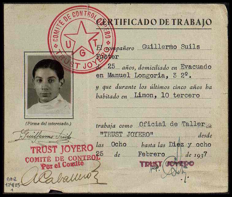 Certificado de trabajo de Guillermo Suils
