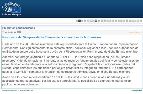 la respuesta del VP de la Comisión Europea, Frans Timmermans