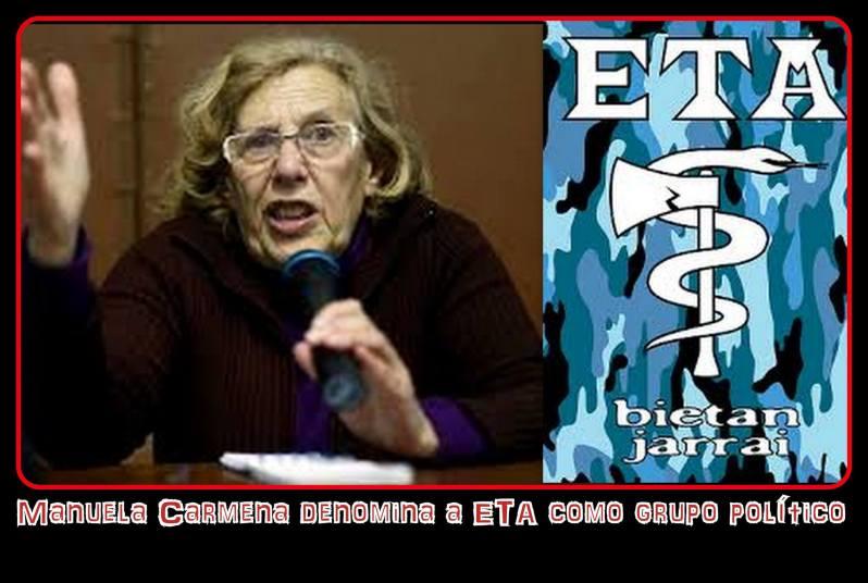 Manuela Carmena denomina a ETA como grupo político