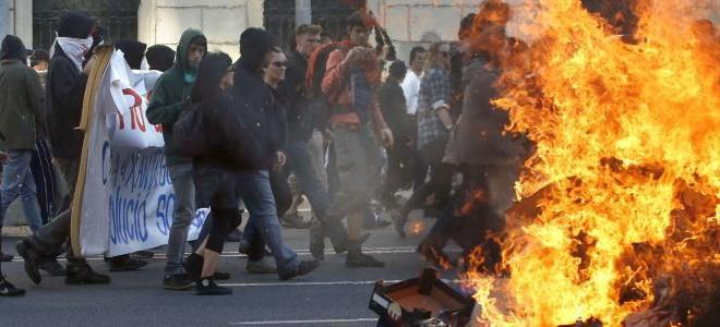 violencia en las calles de Barcelona