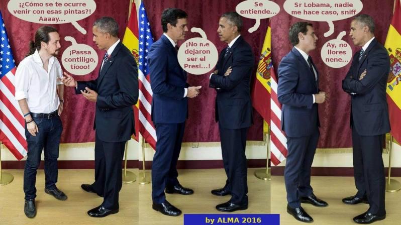 fragmento de las conversaciones mantenidas entre el Presidente Barack Obama y Pedro Sánchez, Albert Rivera y Pablo Iglesias
