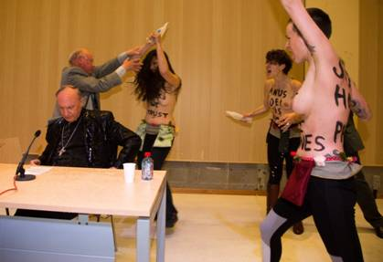 Activistas belgas del grupo feminista internacional Femen