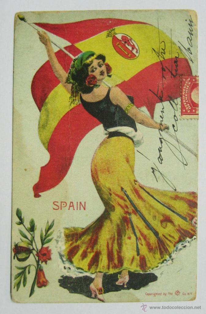 antígua postal con la bandera de España