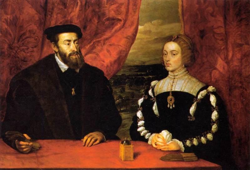 Carlos V e Isabel de Portugal, copia de Rubens de un original de Tiziano