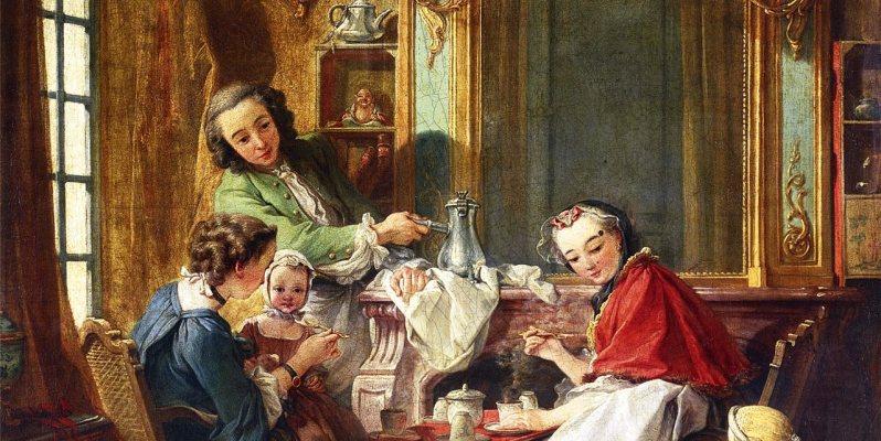 Merienda con chocolate en una casa francesa en el siglo XVIII. Óleo por François Boucher. Museo del Louvre, París.
