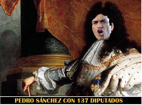Pedro Sánchez con 137 dpitados.Ilusttración de Félix López García
