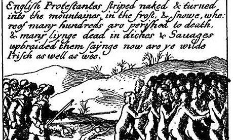 1641 irlandeses desnudos antes de ser masacrados