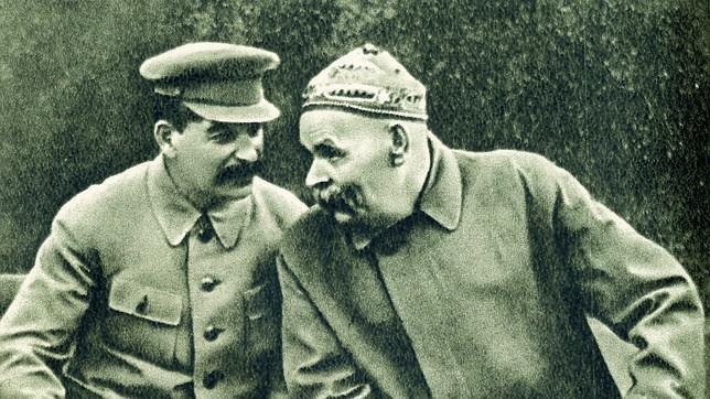 Stalin junto al escritor Máximo Gorki