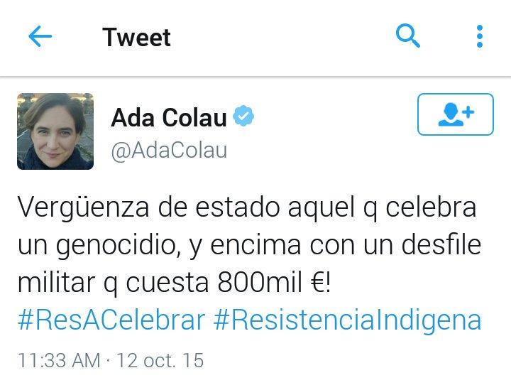 Mensaje público de Ada Colau el 12 de Octubre
